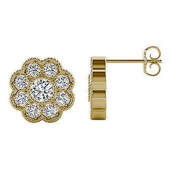 14K Yellow Gold Moissanite by Charles & Colvard 3.5mm Round Stud Earrings, 0.80cttw DEW