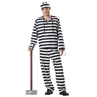 Mens Jailbird Prisoner Convict Uniform Fancy Dress Costume