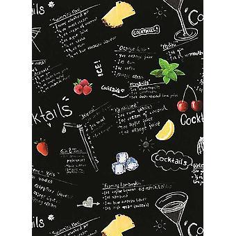 Cocktail Menu Wallpaper Recipe Black White Kitchen Paste The Wall Vinyl Erismann