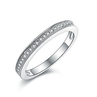 925 Sterling Silber dünn edel Milgrain eine halbe Ewigkeit Band Ring