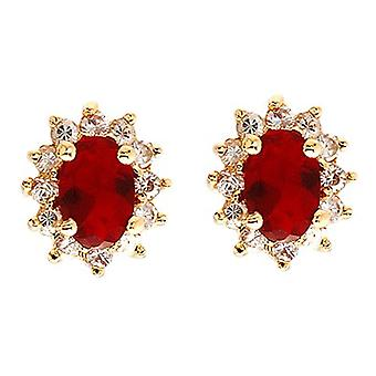 Ah! Jewellery Ruby Oval Crystals From Swarovski Stud Earrings Gold Filled