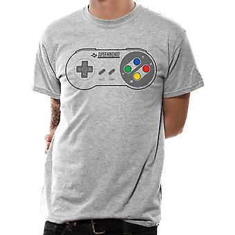 Mäns Nintendo SNES Controller pad grå T-shirt