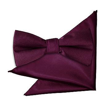 Plum Plain Satin Bow Tie & Pocket Square Set for Boys