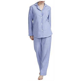British Boxers Staffordshire Herringbone Flannel Pyjamas - Blue