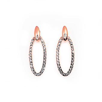 VIP Rose Gold Plated Crystal Set Oval Drop Earrings