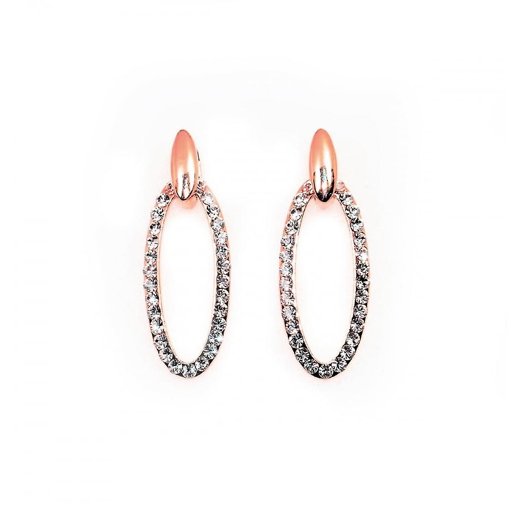 Vip VIP Rose Gold Plated Crystal Set Oval Drop Earrings