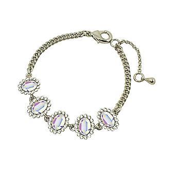 Majestat wieczne Aurora Borealis Crystal Silver Tone bransoletka