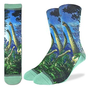 Good Luck Sock - Men's Active Fit - Brachiosaurus Dinosaur (8-13) 4126
