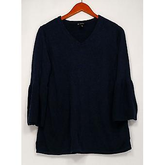 H de Halston Sweater V-Neckline 3/4 Bell Manga Azul A297074