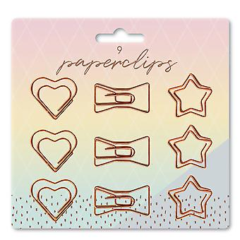 9 Pack Novelty Rose Gold Copper Style Shaped Paper Clips Hearts Bow ties & Stars