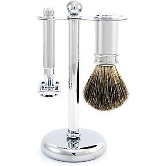Silver Shaving Set - S Curit and Blaireau Razor