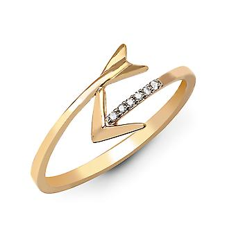 Jewelco London Solid 9ct Yellow Gold Pave Set Round H I1 0.03ct Diamond Cupid Arrow Wrap Dress Ring 8mm