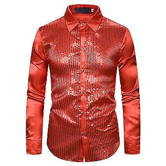 Allthemen Men's Shirt Sequins Spliced Pub Casual Long Sleeve Shirt
