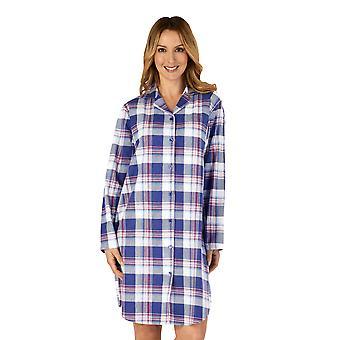 Slenderella NS4215 Women's Woven Plaid Cotton Nightshirt