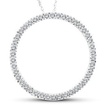 5/8Ct círculo de vida redonda diamante pingente 10K ouro branco