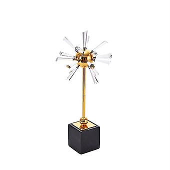 Well-designed clear crystal flower sculpture, multicolor