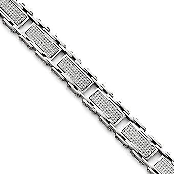 Stainless Steel Fold over Grey Carbon Fiber Inlay Polished Bracelet 8.5 Inch Jewelry Gifts for Women