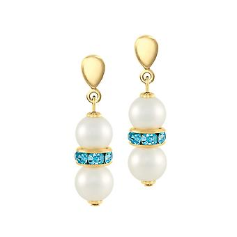 Eternal Collection Kaleidoscope Aqua Crystal Shell Pearl Gold Tone Screw Back Clip On Earrings