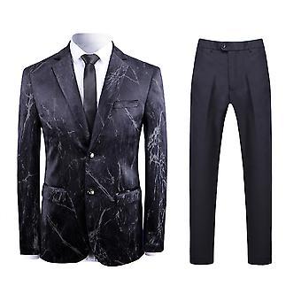 Allthemen Men's 2-Piece Suits Marble Pattern Slim Business Casual Blazer&Pants