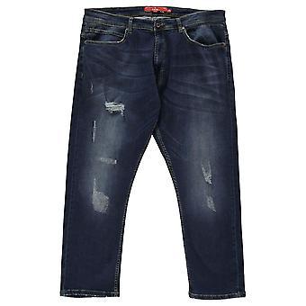 D555 mens Gents Asher geripte noodlijdende katoenen jeans broek broek bodems