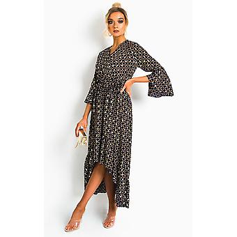 IKRUSH Womens Nelly Printed Frill Maxi Dress