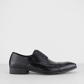 Blakeseys Wyvern Mens Leather Reptile Effect Lace Up Brogues Black