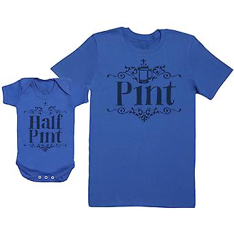 Half Pint - Baby Gift Set with Baby Bodysuit & Father's T-Shirt