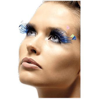 Blue Eyelashes with Neon Feathers