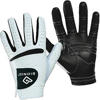 Bionic Mens RelaxGrip Black Palm Orthopedic Gants de golf en cuir - Blanc - LH