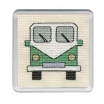 Patrimoine textile compté point de croix Campervan Coaster vert