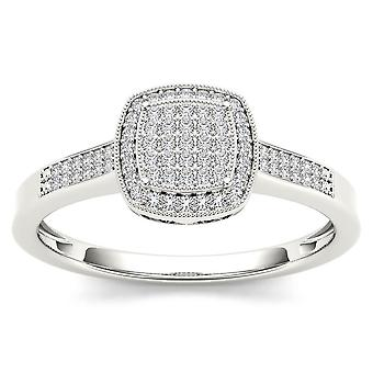 Igi certified 14k white gold 0.17 ct diamond halo cluster engagement ring