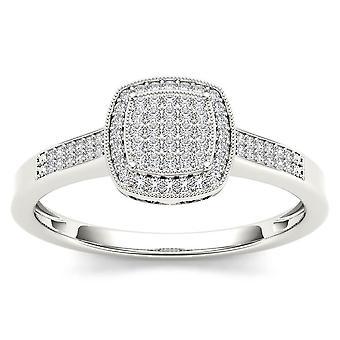 Igi-certifierad 14k vitt guld 0,17 ct diamant halo kluster förlovningsring