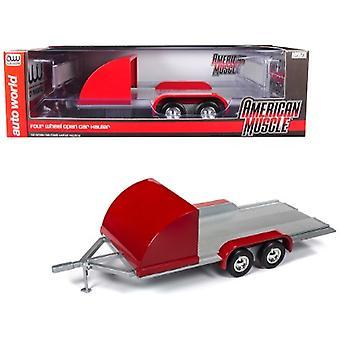 Quattro ruote Open Car Hauler Trailer rosso per modelli in scala 1/18 di Autoworld