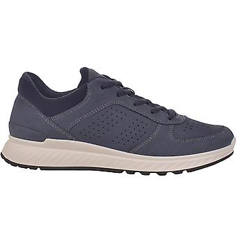 Ecco Womens Exostride Low Yak Leather Lace Up Breathable Trainers Shoes - Marine