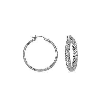 14k White Gold Sparkle Cut Hoop Boucles d'oreilles Mesures 4x40mm Bijoux cadeaux pour les femmes - 4.3 Grammes
