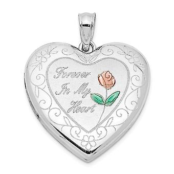 925 Sterling Silver Rhodium plaqué Epoxy Rose Ash Holder Love Heart Photo Locket Pendant Necklace Bijoux Bijoux pour Wome