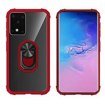 Samsung S20 Case Transparent - Red Ring Holder