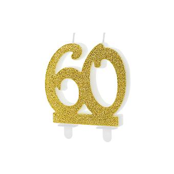 Gold Glitter Birthday Candle Number 60, Cake Decorations 7.5cm
