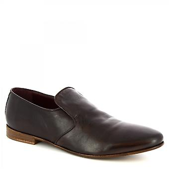 Leonardo Shoes Men's handmade classy loafers in dark brown calf leather