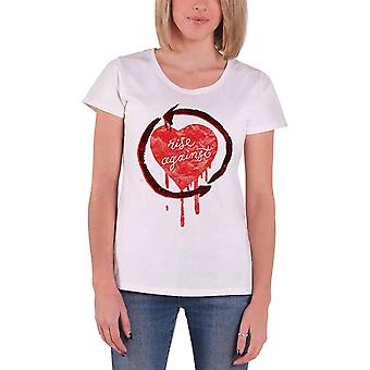 Rise Against T Shirt Rough Heart band logo new Official Womens White Skinny Fit