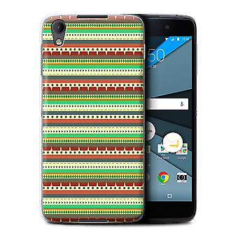 STUFF4 Case/Cover for BlackBerry Neon/DTEK50/Green/Red/Aztec Tribal Pattern