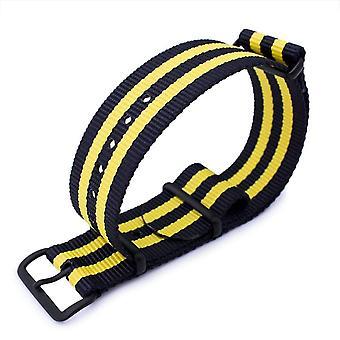 Strapcode n.a.t.o حزام ووتش miltat 20mm أو 22mm g10 العسكرية حزام حزام حزام النايلون الباليستية الذراع، pvd الأسود - الأسود والأصفر