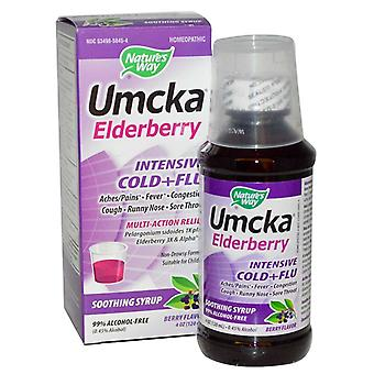 Nature's way umcka elderberry intensive cold + flu, soothing syrup, 4 oz