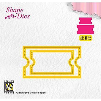 Nellie's Choice Shape Die - ticket & tags - ticket 2 SD171 44x23/58x31mm