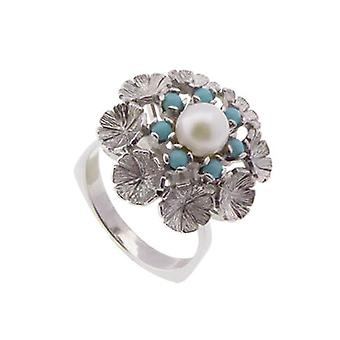White gold ring with turquoise and pearl