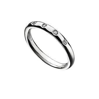 Alkaa Sterling Silver Flush Set Zirkonia Band Ring R3733C