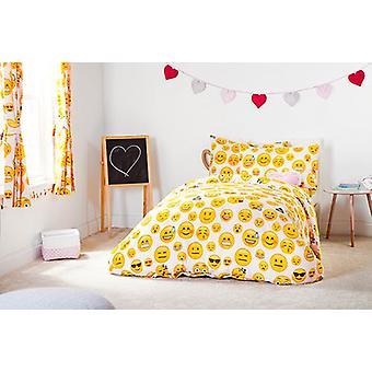 Ready Steady Bed Emoji Girl Design Children's Cotbed Duvet Cover Set