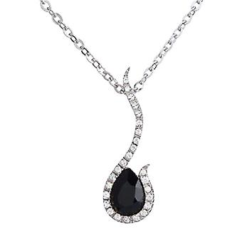 "Annaleece Black & Clear Crystals Pendant on 16""/18"" Chain"