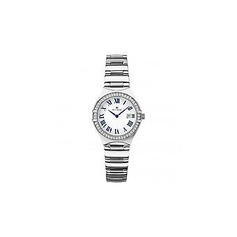 Accurist damas redondo blanco fecha dial Swarovski bisel de acero inoxidable pulsera reloj 8203