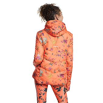 Desigual Women's Reversible Padded Street Gardens Jacket Orange Floral /Green L